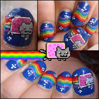 nyan cat nails by Ninails