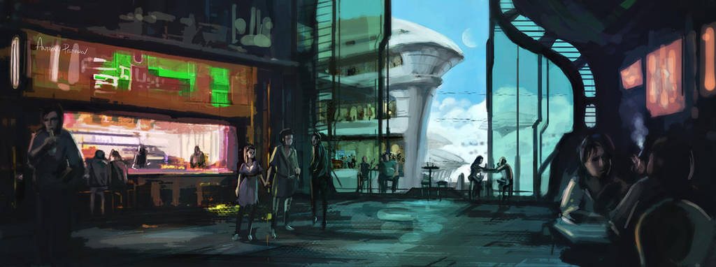 SciFi Cafe Concept by AnthonyPismarov