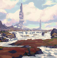 Towers Over Red Plains Environment Color Concept by AnthonyPismarov