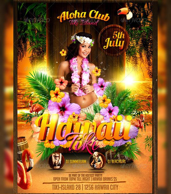 hawaii tiki flyer template by lordfiren on deviantart