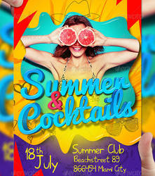 Summer and Cocktails PSD Flyer Template by LordFiren