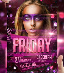 FRIDAY Party Flyer Template by LordFiren