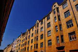 Yellow street under a blue sky by Matus76