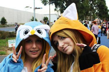 .:Kigurumi ~ Fox and the Owl:. by Chibi-Mochi-Bun