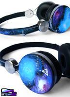 Galaxy nebula handpainted headphones by Ketchupize