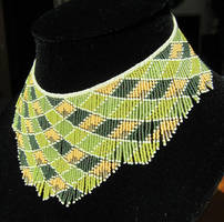 Beaded green and gold seed bead bib necklace by AxmxZ
