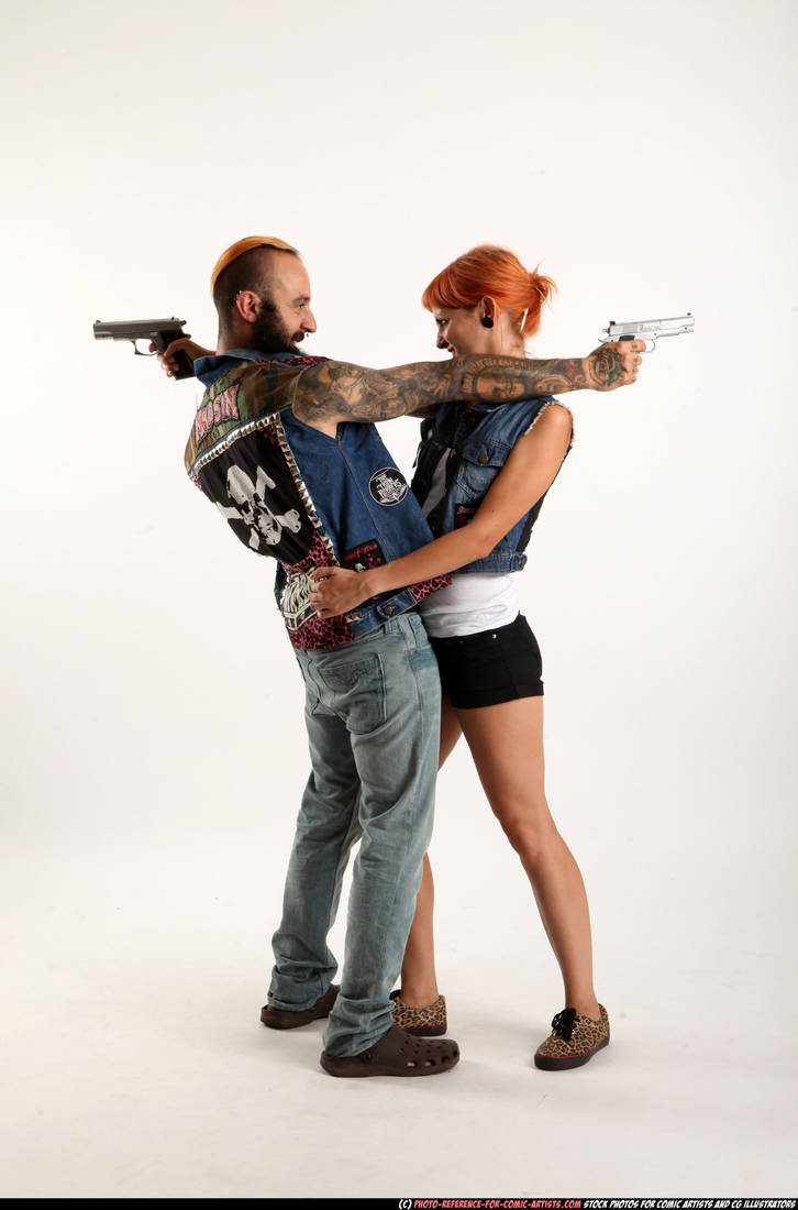 Couple - Cross shooting (pistols) by comicReference