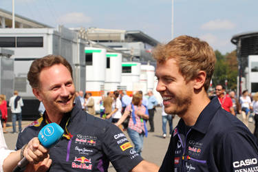 Christian Horner and Sebastian Vettel by Mnatek