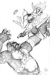 Green Ghost vs nazi gorilla by scottygod