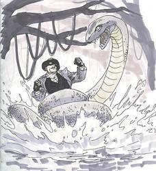 Green Ghost vs giant snake by scottygod
