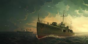 IJN destroyer Akikaze by U-Joe