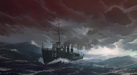 IJN destroyer Amatsukaze by U-Joe
