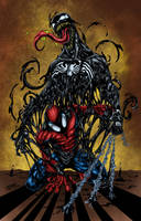 Spider-Man with Venom Colored by likwidlead
