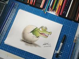 Crocodile hatching from egg by EinariHusky