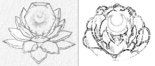 Pink Moon Crystal Flower Form, Original vs Reprint by Moon-Shadow-1985