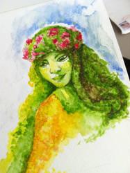 Te Fiti Watercolor sketch by kelley-a