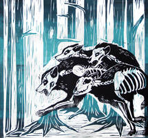 bone pack linocut by helterbraegen