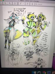 Ebony and Scarlet: Blanc, Lemon and Lime by BlueStarNights