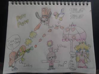 Inking Girl Vs. Duck Hunt Vs. Villager Vs. Peach by marcusderjr
