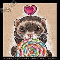 Happy Ferret with Lollipop by natamon