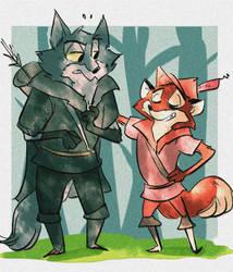 wolfy and fox by coffeebandit