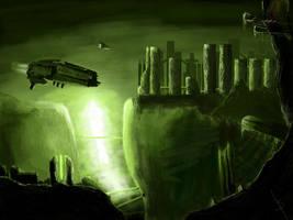 Green scifi scenery by aneki