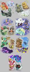 Starter Pokemon Regional Variants by Velink