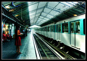 Train Station-Woman in Red by pkritiotis