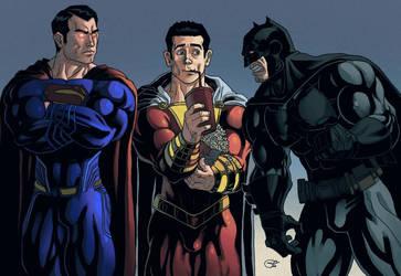 superman, shazam y batman by poncestudios