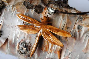 Dragon fly wooden pendant. handmade by JonasOlsenWoodcraft