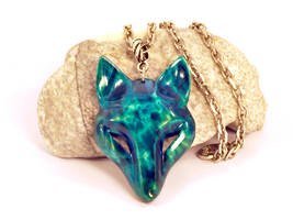 Wooden Blue wolf pendant by JonasOlsenWoodcraft