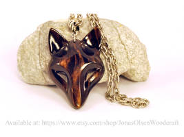 Black wolf pendant by JonasOlsenWoodcraft