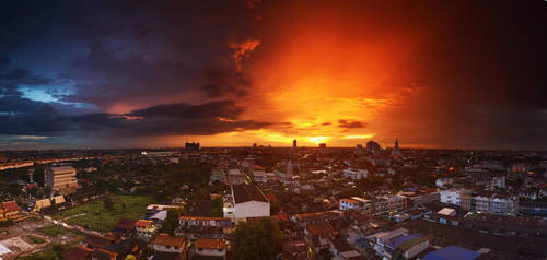 Balcony Sunset Panorama 4 by comsic