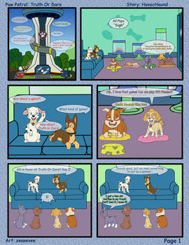 Paw Patrol Comic - Truth or Dare pg 1 by kreazea