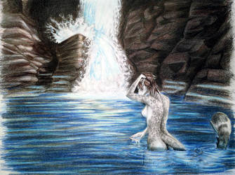 Commission: Angelic Waterfall by LyhliTheLuminescent