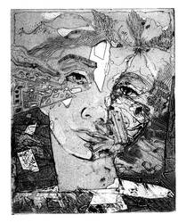 Collagraph of a face by JetJames