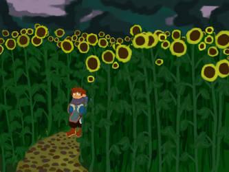 Little fellow in a big flower field by lostthecreativity