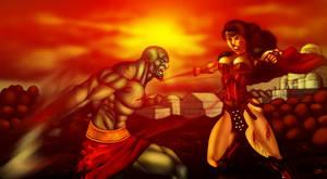 Kratos vs Wonder Woman by DaigotheBeast