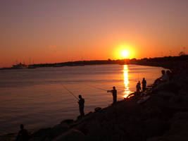 Fishermen at Sunset by balacicek