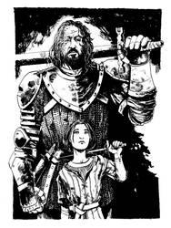 The Hound and Arya Stark by B3NN3TT