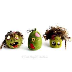 Handmade Felt Zombie Plush Keychain by Saint-Angel