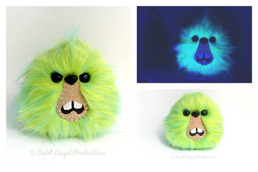 Neon Green Monster Plush, Black Light Responsive by Saint-Angel