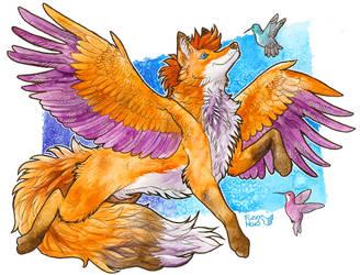 Flying with hummingbirds by FuzzyMaro