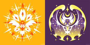 Radiant Sun + Full Moon (T-Shirts) by Versiris