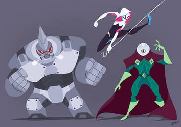 SPIDER GWEN AND VILAINS by GrievousGeneral