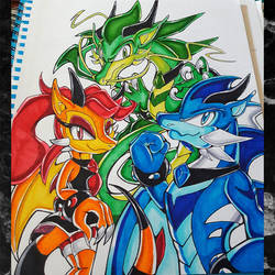 Gem Dragon Trio by Astral-Wingz