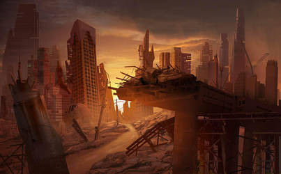 Abandoned City, Matte Painting by MarcoBucci