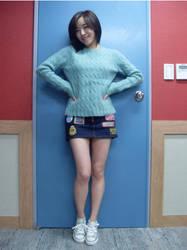 blue sweater short denim skirt by marshmellowish