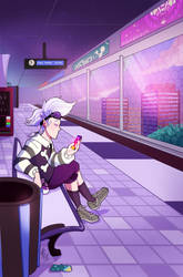 Waiting for Train by TamarinFrog