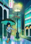 Rainy Spectrum City by TamarinFrog